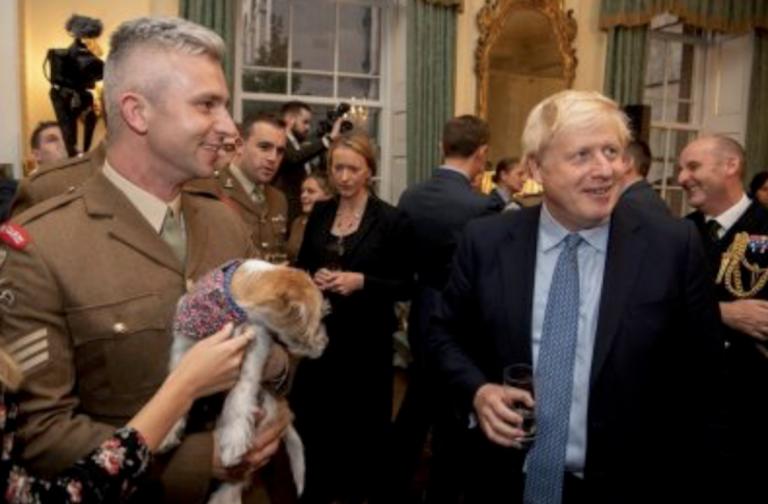 Boris Johnson holding pet